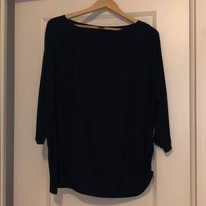 Navy maternity blouse.